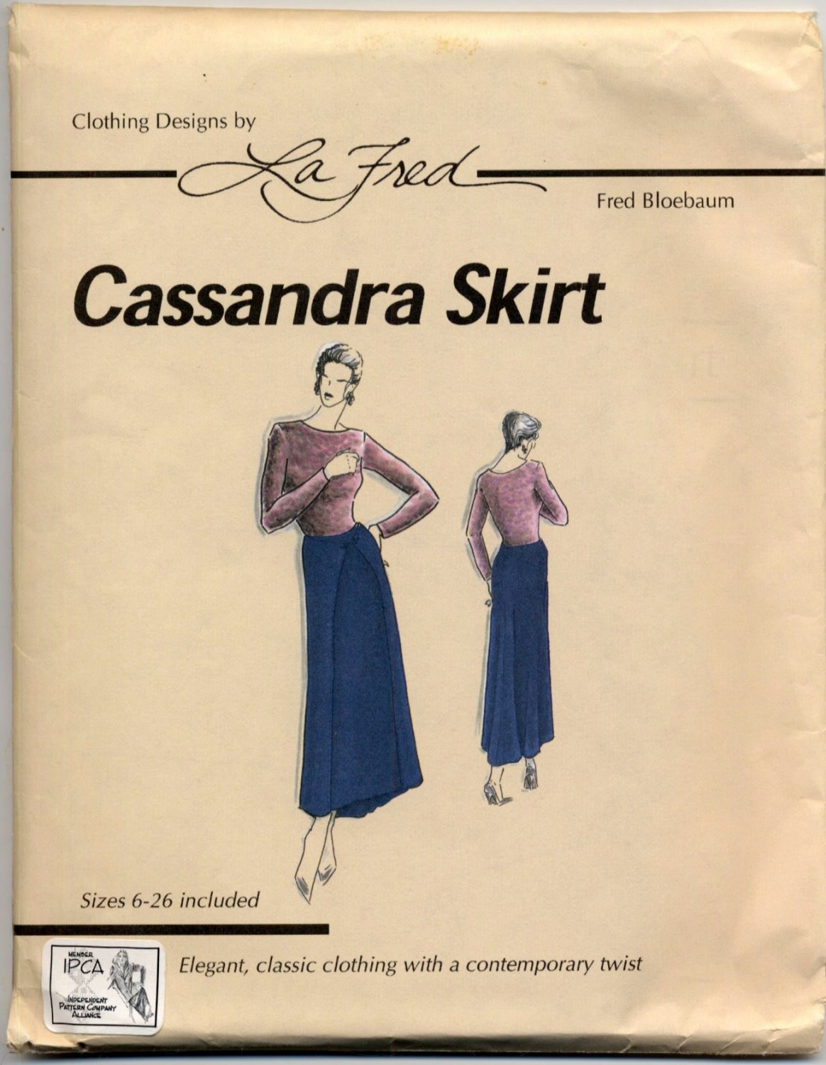 La Fred 101 Cassandra Skirt Sewing Pattern - Misses' 6 - 26 - Fitted Paneled Wrap Skirt