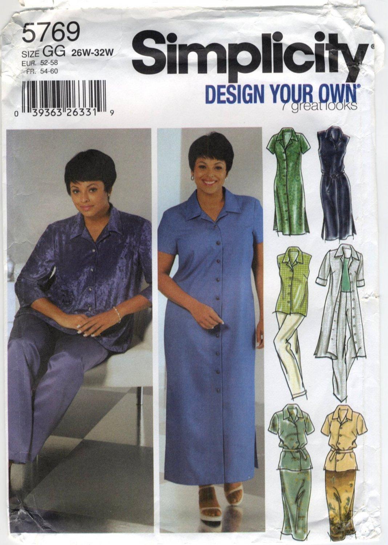Simplicity 5769 Shirt-Dress, Shirt, Skirt & Pants - Sewing Pattern Women's 26W 28W 30W 32W