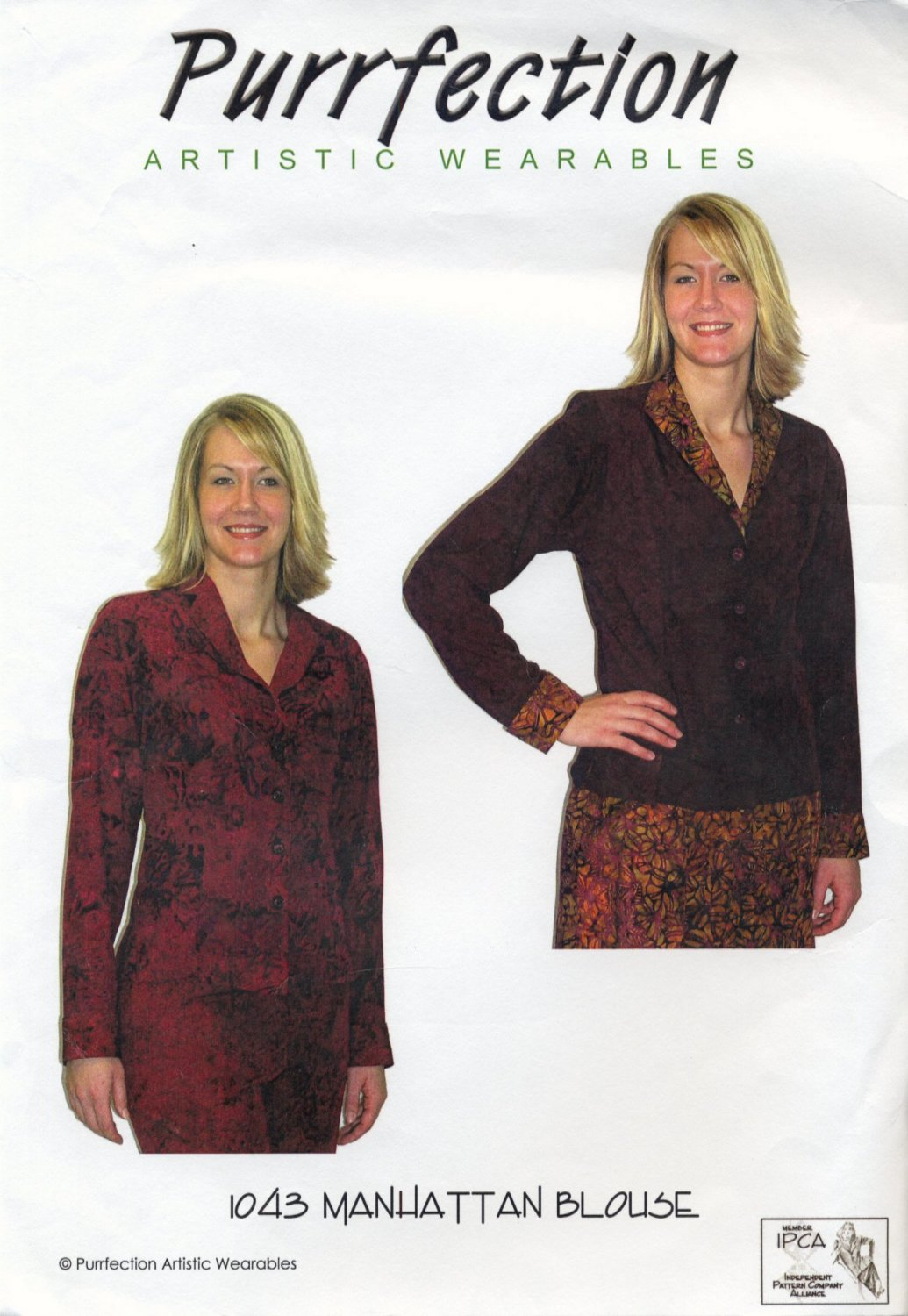 """Purrfection Artistic Wearables 1043 Manhattan Blouse Sewing Pattern - Sizes XS-5X Bust 30""""-62"""""""