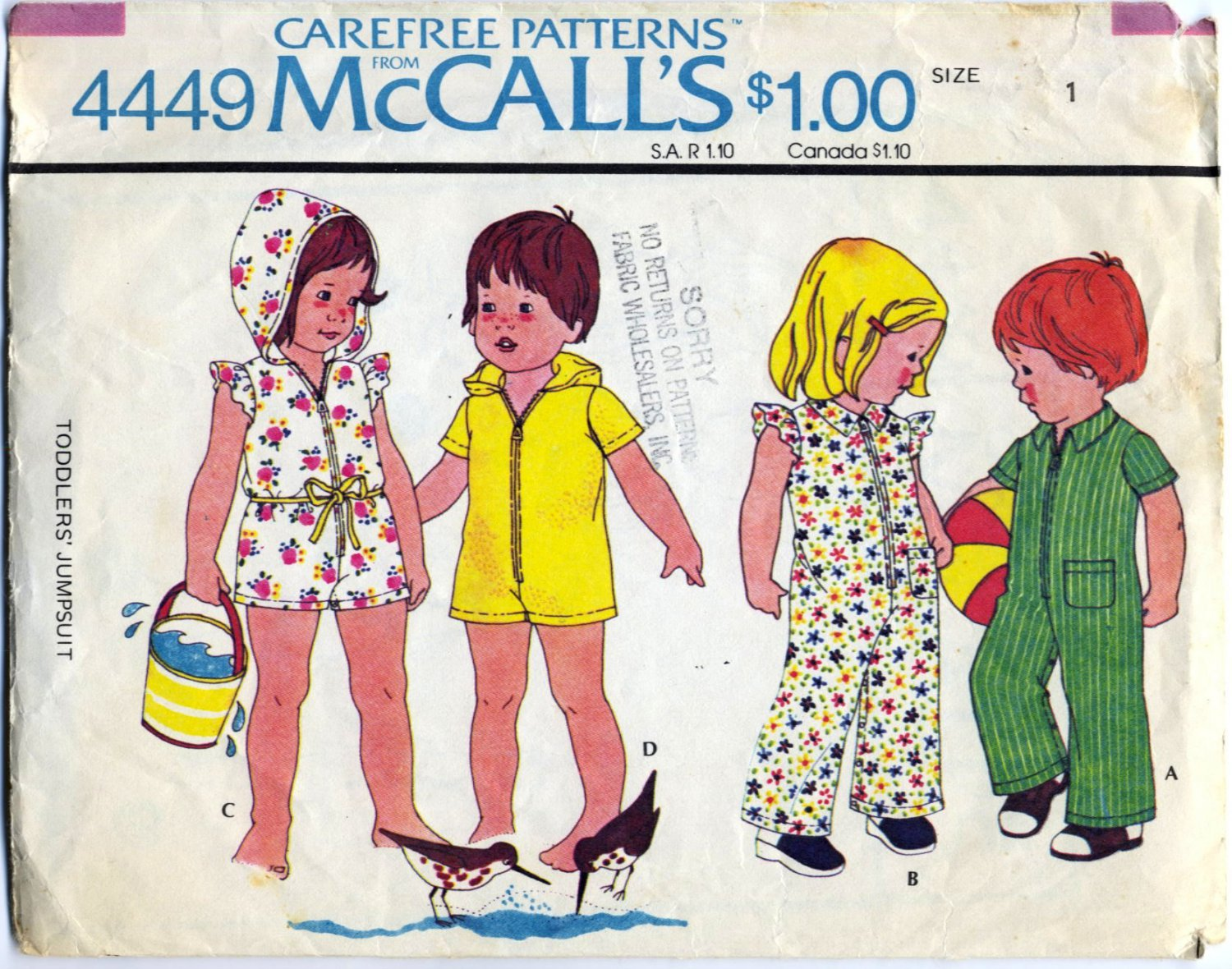McCall's 4449 Toddler's Jumpsuit - - 1970s CUT Sewing Pattern - Toddler Size 1 Breast 20""