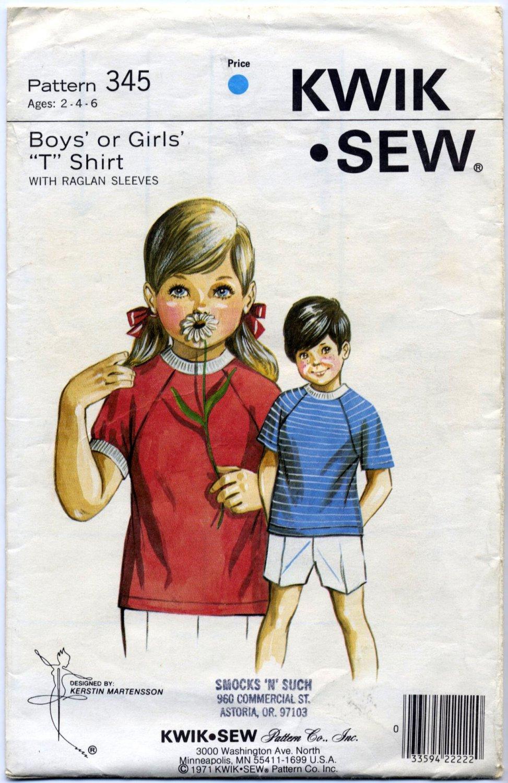 Kwik Sew 345 Boys' or Girls' Raglan T Shirt Sewing Pattern Sizes: Ages 2 4 6