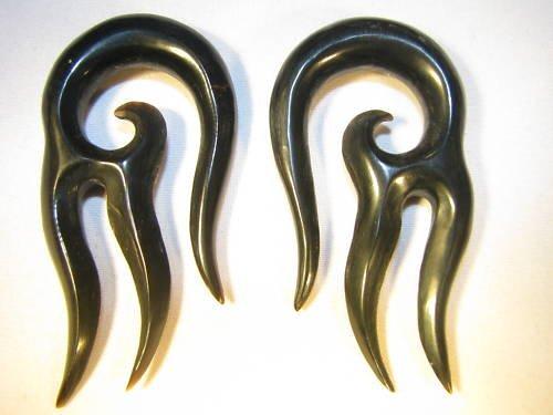 Horn Diablo gauges, ear taper spiral plugs 8g 6g 4g 2g 0g