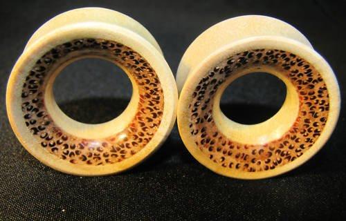 coconut + crocodile wood inlay gauges ear flesh tunnels spacers plugs 0g ++