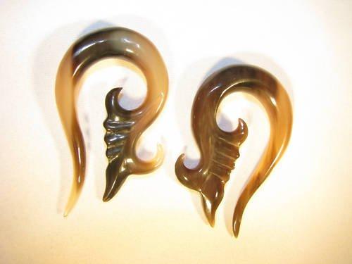 """Marbled horn Flor Del Luna spiral gauges, ear tunnels, plugs, earlets 8g 4g 0g 00g 7/16"""""""