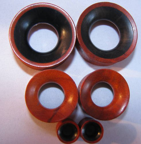 "EBONY + redwood wood ear gauges spacers  2g 0g 00g 7/16"" 1/2"" 9/16"" 3/4"" 7/8"" 1"" 11/8"""