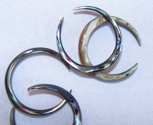 ABALONE pincher septum body jewelry ear plug 12g or10g or 8g