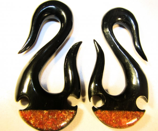 Dragon's Hook horn organic ear tribal gauge spiral plug 4g 2g 0g 00g