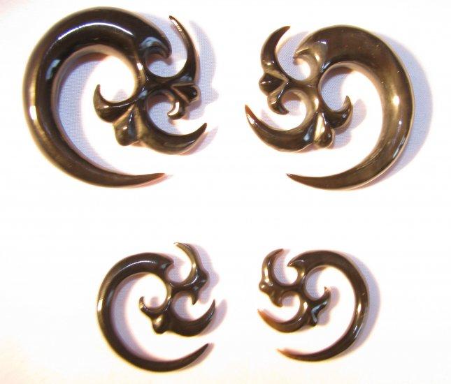 TESLA horn tribal ear gauge spiral plug 6g 4g 2g 0g 00g