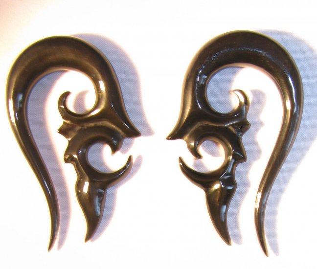 Tribal SAGARIS spiral organic horn ear gauges earrings plugs 6g 4g 2g 0g 00g