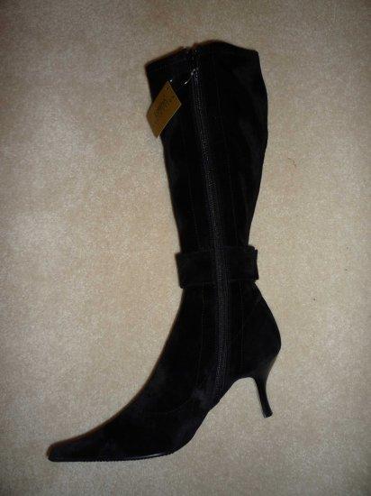 Gorgeous New Lorena Black Faux Suede Dress Boots Size US 7EU 37