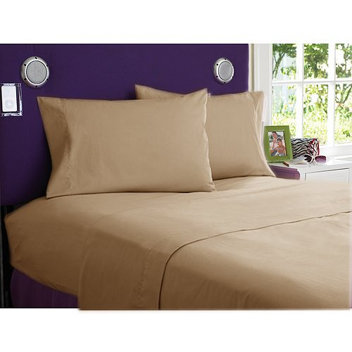 NEW 1000TC 4PCs BED SHEET SET QUEEN SOLID TAUPE 100% EGYPTIAN COTTON
