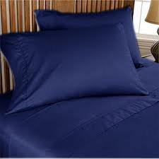 NEW 1000TC 4PCs BED SHEET SET QUEEN SOLID NAVYBLUE 100% EGYPTIAN COTTON