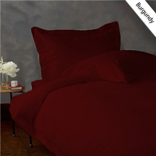 600TC SOLID FULL/QUEEN 3PC BURGUNDY DUVET/DOONA/QUILT COVER SET 100% EGYPTIAN COTTON