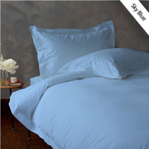 800TC SOLID FULL/QUEEN 3PC BLUE DUVET/DOONA/QUILT COVER SET 100% EGYPTIAN COTTON