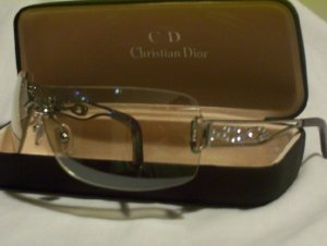 Silver Plastic Rimless Christian Dior with Diamantes -115
