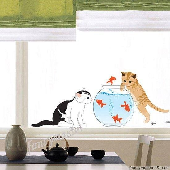 Cat and Fish Wall Stickers SS-58237