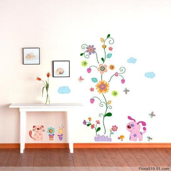 Dog and Neriifolia Wall Stickers KR-0013