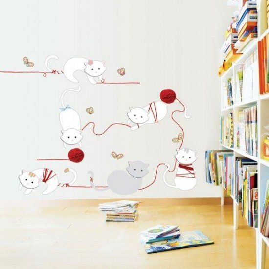 Cat play cold hair ball Wall Stickers KR-0033