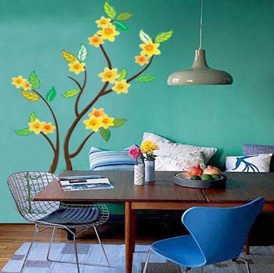 Yellow Flower Tree Wall Stickers CP-049