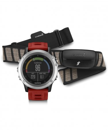 Garmin Fenix 3 Multisport Training GPS Watch with HRM monitor performance bundle Silver -Red
