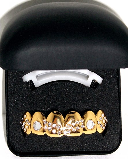 Gold Colored Clear Stone Grillz