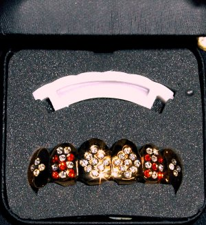 Red & Clear Stoned Gold Colored Grillz