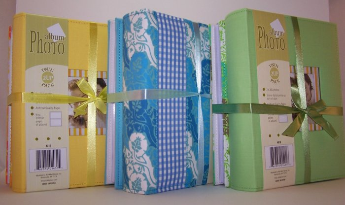 Twin Pack of Medium Fabric Covered Photo Albums in Blue