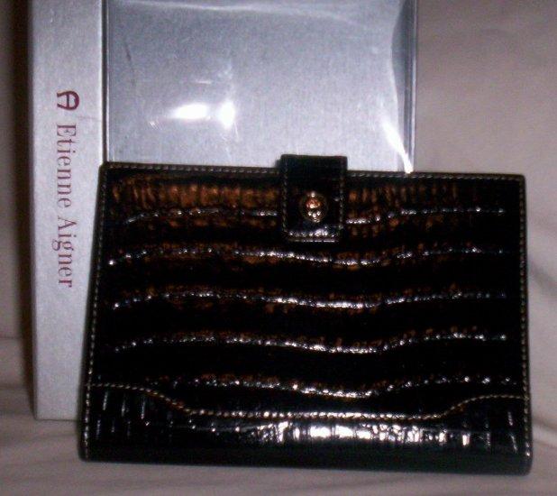 Etienne Aigner Black Croc Embossed Leather Photo Wallet