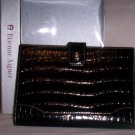 Etienne Aigner Black Croc Embossed Leather Photo Wallet