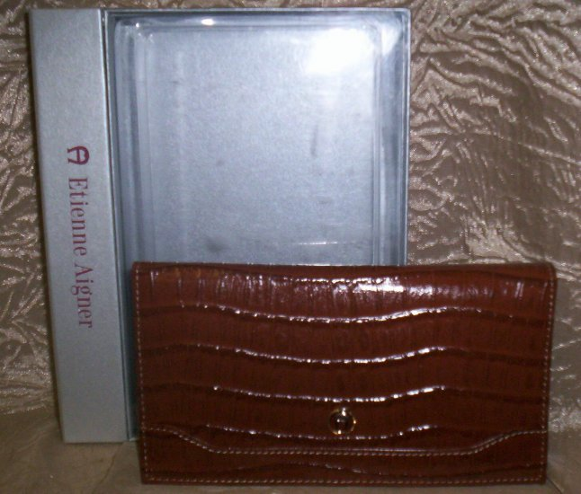 Etienne Aigner Tobacco Croc Embossed Leather Photo Wallet
