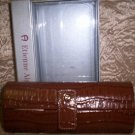 Etienne Aigner Croc Embossed Leather Tobacco Eyeglass Case