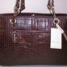 Etienne Aigner Gondola Collection Croco Leather Shoulder Bag in Dark Brown
