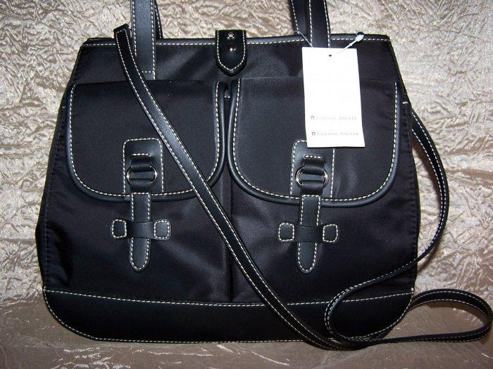 Etienne Aigner Kaleidoscope Collection Satchel Handbag/Shoulder Bag in Black