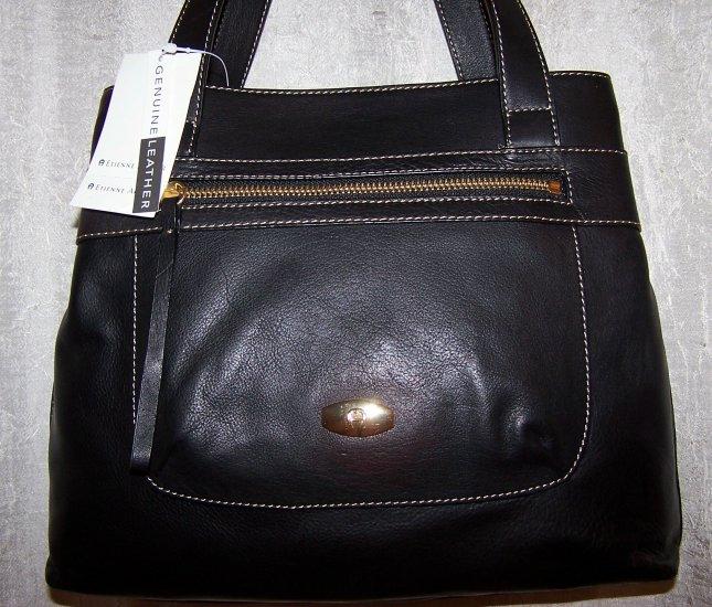 Etienne Aigner Safari Collection Black Leather Shopper Style Handbag