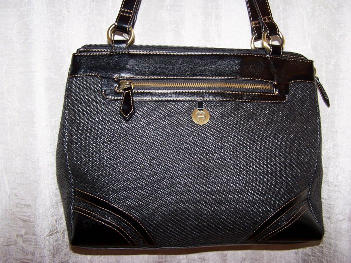 Etienne Aigner Woven Satchel with Leather Trim in Black