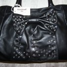 Cavalcanti Italian Leather Demi Style Handbag with Rhinestone Bow in Black