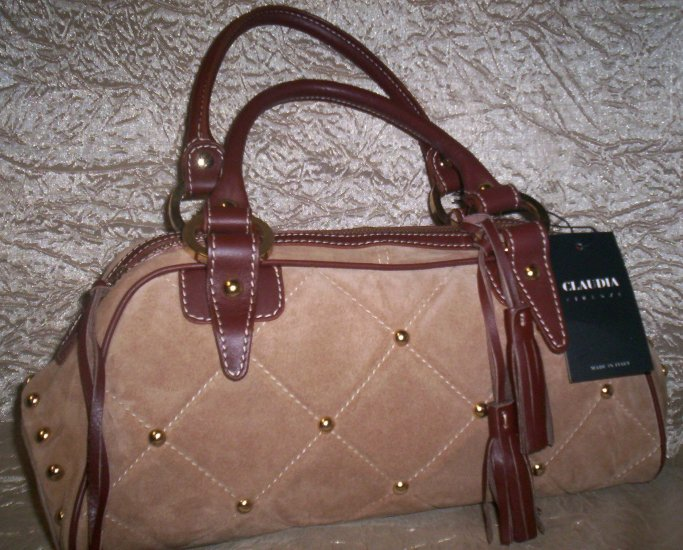 Claudia Firenze Italian Leather and Suede Doctor Bag Style Handbag