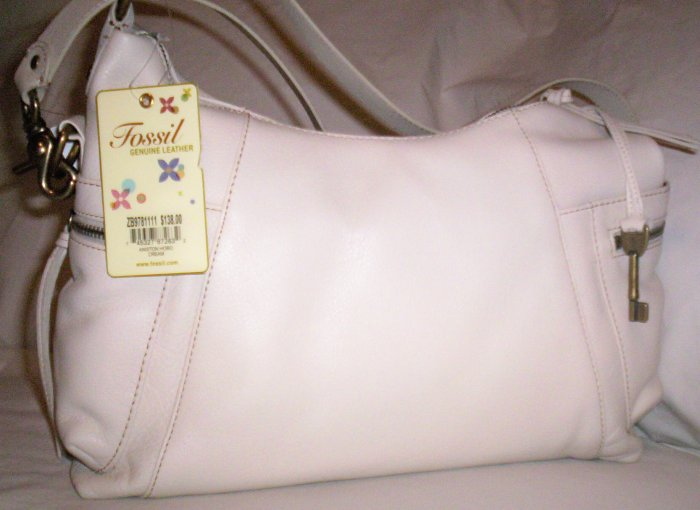 Fossil Aniston Leather Hobo Shoulder Bag in Cream