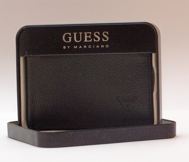 Guess Leather Bi-Fold Wallet with Removable ID Folio in Black