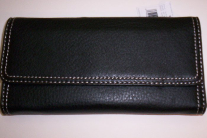 New Liz Claiborne Newberry Flats Leather Flap Wallet in Black