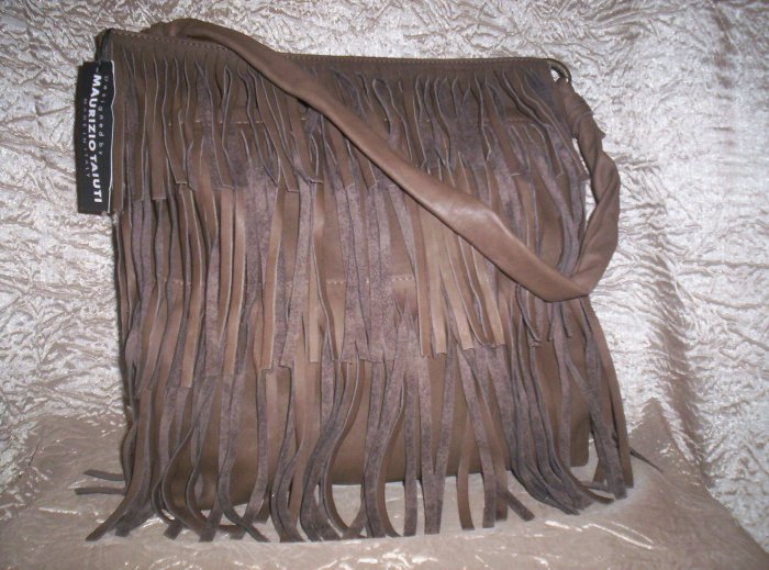 Maurizio Taiuti Italian Leather Fringe Shoulder Bag in Khaki Brown