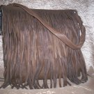 Maurizio Taiuti Italian Leather Fringe Shoulder Bag in Khaki Brown