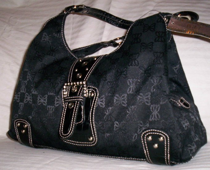 Pritzi Ribbon Signature A-Line Shopper Shoulder Bag in Black