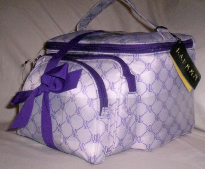 Lauren by Ralph Lauren Gift Set of 3 Cosmetic Case Travel Bags in Purple & White Logo