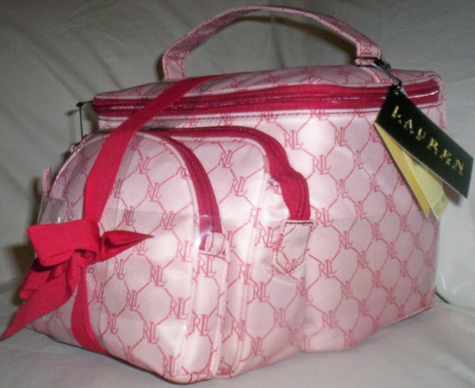 Lauren by Ralph Lauren Gift Set of 3 Cosmetic Case Travel Bags in Red & White Logo