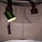 Lauren Ralph Lauren Houndstooth and Suede Shoulder Bag Tote in Brown