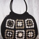Rosetti Granny Square Macramé Handbag in Black, Sage and Khaki