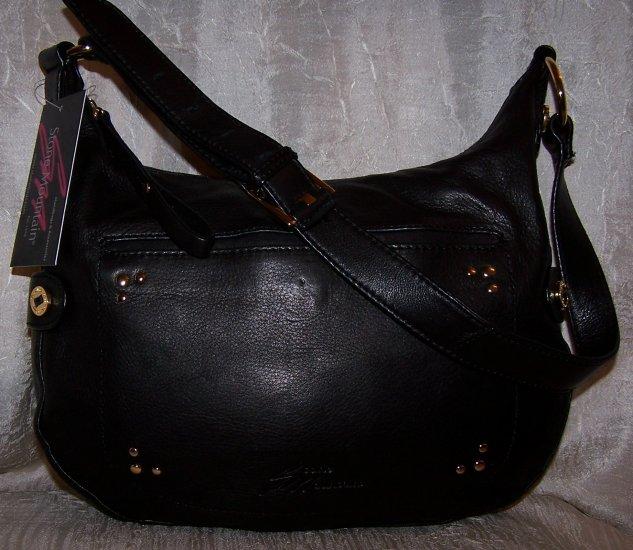 Stone Mountain Greenwood Lake Leather Hobo Shoulder Bag in Black