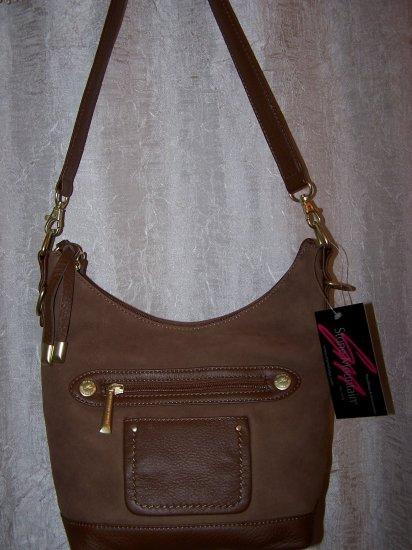 Stone Mountain Ridgewood Suede & Leather Hobo Shoulder Bag in Medium Brown