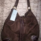 Tommy Hilfiger Alexandria Large Drawstring Hobo in Brown Ultra Suede